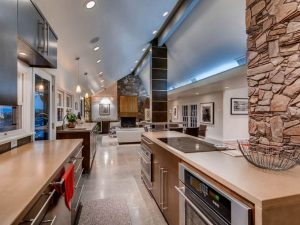 The interior remodel that features many refurbished design elements.